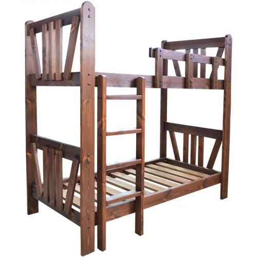 """Кровать двухъярусная из массива сосны под старину """"Машенька"""""""
