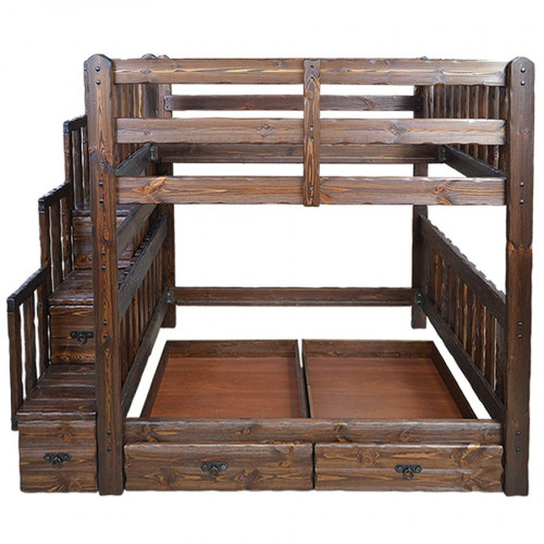 """Кровать из массива сосны под старну """"Медведь"""" двухъярусная"""