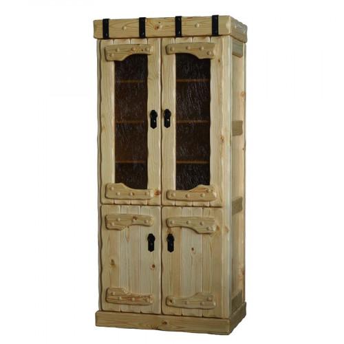 """Шкаф книжный из массива сосны под старину с элементами ковки """"Государь"""""""