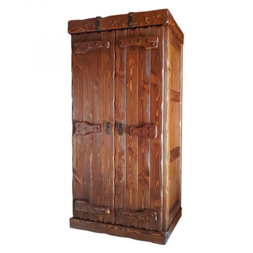 """Шкаф платяной из массива сосны под старину с элементами ковки """"Добрыня"""" двухстворчатый"""