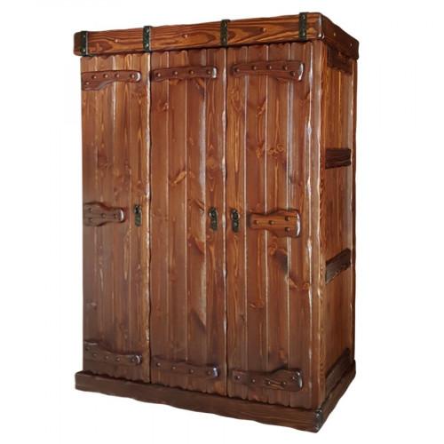 """Шкаф платяной из массива сосны под старину с элементами ковки """"Добрыня"""" трехстворчатый"""