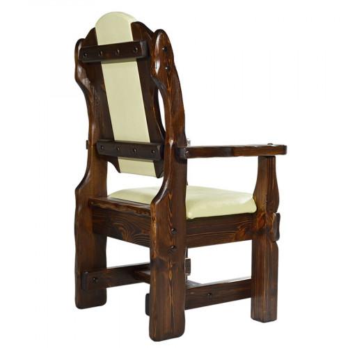 """Кресло из массива сосны под старину """"Лорд"""" (кожа)"""