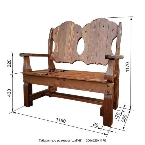 """Кресло-скамья из массива сосны под старину """"Добряк"""""""